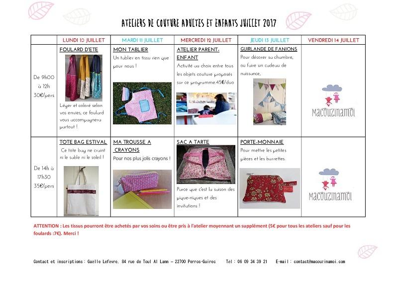 Ateliers de couture cet été, demandez le programme!