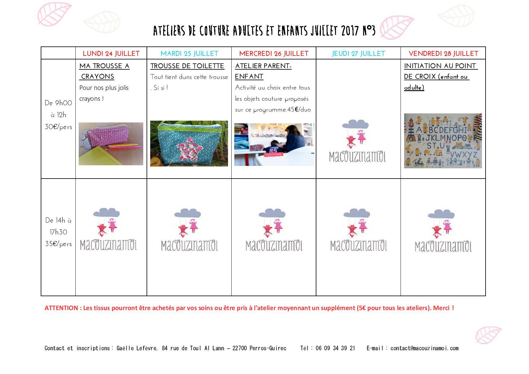 Ateliers de couture Macouzinamoi du 24 au 28 juillet 2017