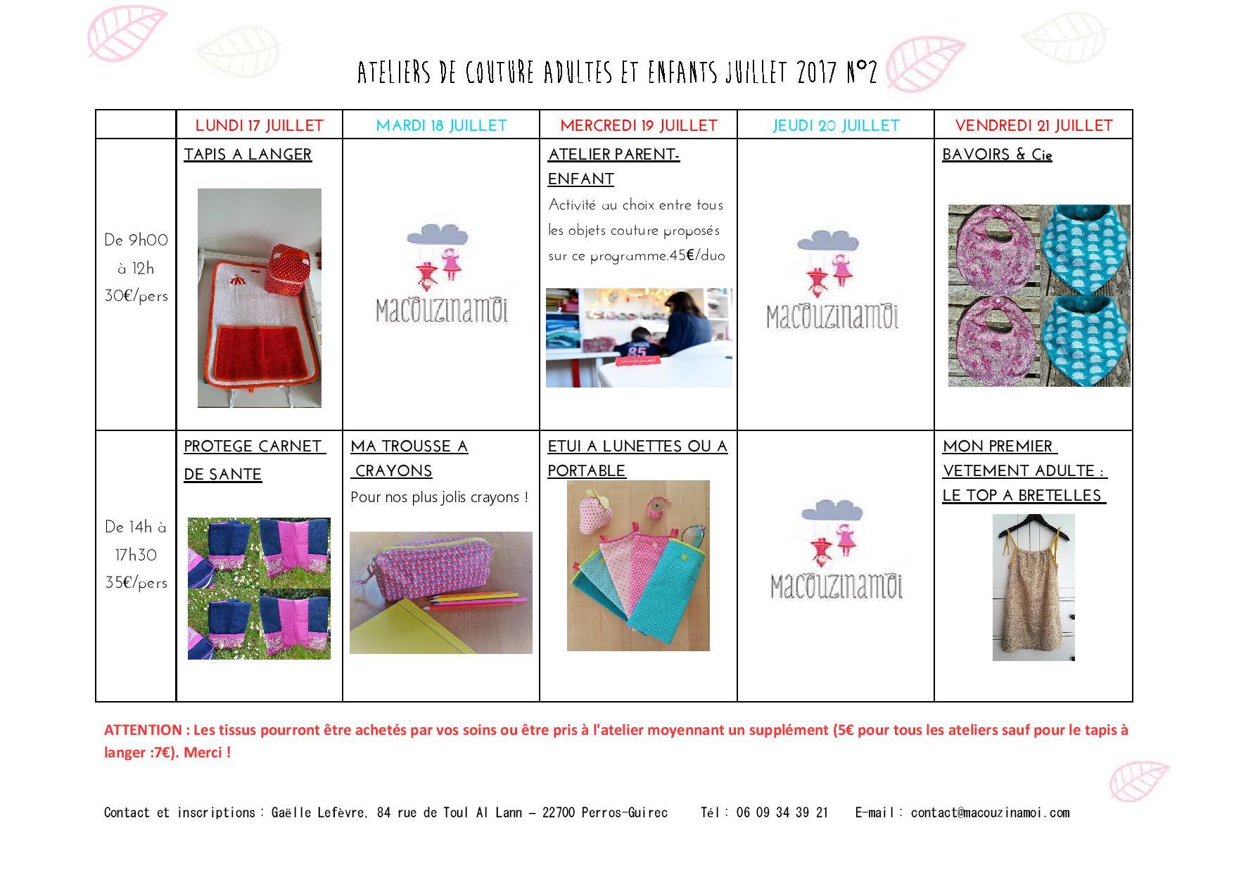 Ateliers couture Macouzinamoi du 17 au 21 juillet