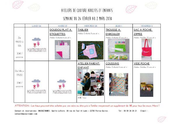 Programme des ateliers de couture adultes, enfants et parents/enfants chez Macouzinamoi!